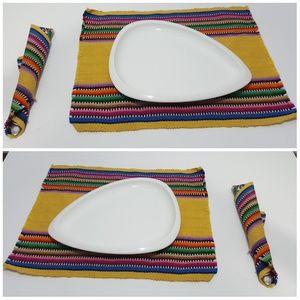 linen  set 8 placemats  8 napkins boho colorfull
